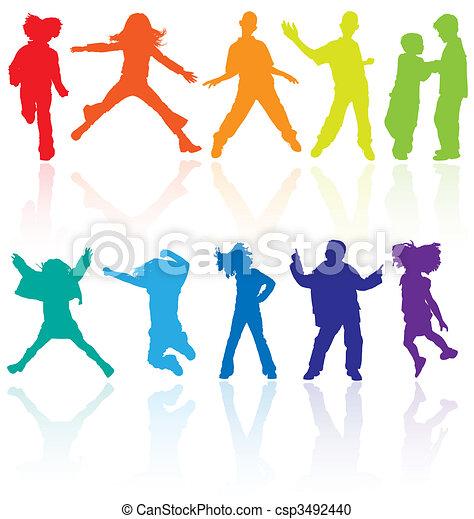 set, dancing, gekleurde, weerspiegeling., tieners, springt, silhouettes, vector, het poseren - csp3492440