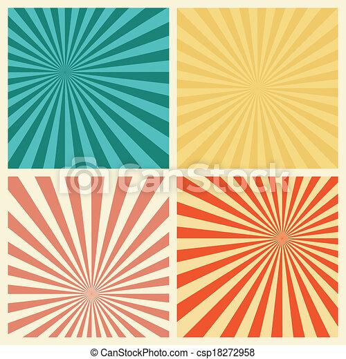 set, grunge, retro, achtergrond, textured, zonnestraal - csp18272958