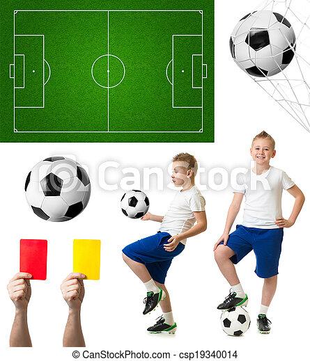 set, voetbalspeler, akker, incluis, voetbal, of - csp19340014