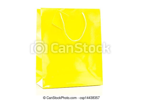 shoppen , gele, zak, enkel, achtergrond, witte  - csp14438357
