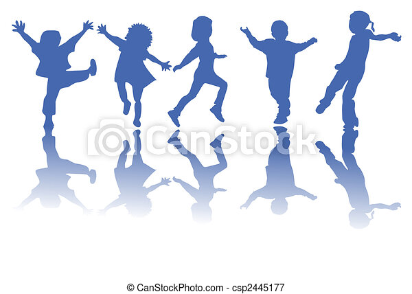 silhouettes, kinderen, vrolijke  - csp2445177