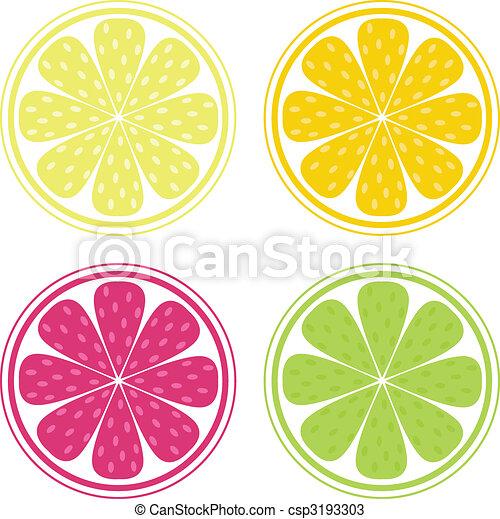 sinaasappel, fruit, achtergrond, citroen, -, vector, citrus, kalk - csp3193303