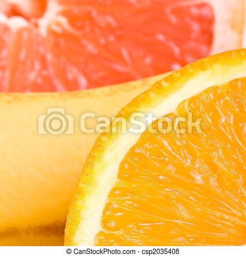 sinaasappel, grapefruit, op, banaan, afsluiten - csp2035408