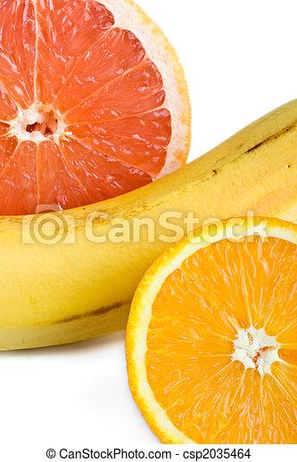 sinaasappel, grapefruit, op, banaan, afsluiten - csp2035464