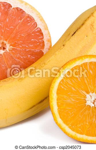 sinaasappel, grapefruit, op, banaan, afsluiten - csp2045073