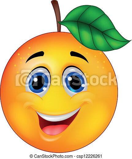 sinaasappel, karakter, spotprent - csp12226261