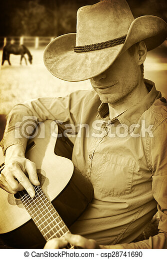 spelend, mooi, hoedje, cowboy, gitaar, westelijk - csp28741690
