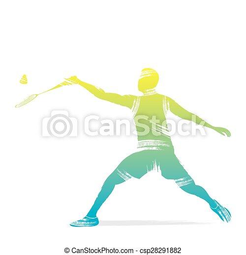 speler, badminton, ontwerp - csp28291882
