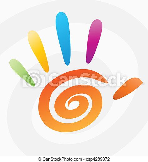 spiraal, abstract, vector, gekleurde, hand - csp4289372