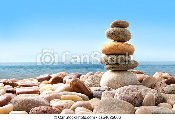stenen, kiezelsteen, witte , stapel - csp4025006