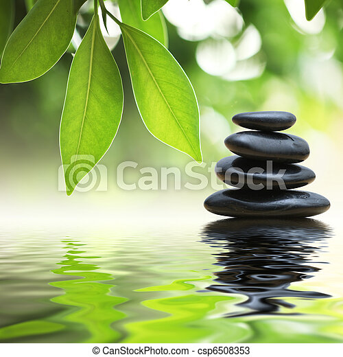 stenen, water, piramide, zen, oppervlakte - csp6508353