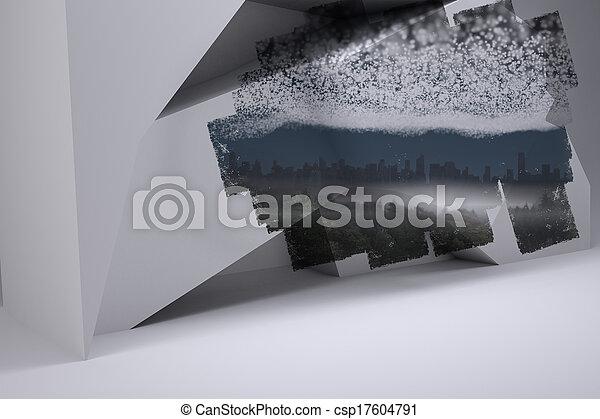 sterretjes, scherm, onder, het tonen, cityscape, abstract, kamer - csp17604791