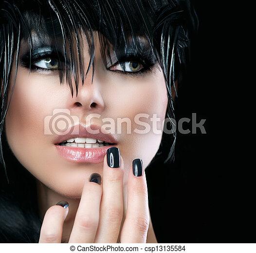 stijl, vrouw, mode, girl., kunst, mode, verticaal, mooi - csp13135584