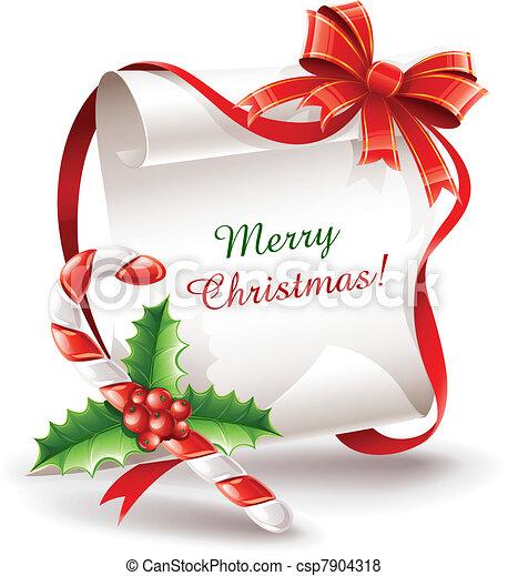 stok, karamel, begroetende kaart, kerstmis - csp7904318