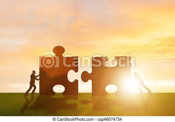 teamwork, raadsel, jigsaw, metafoor, zakelijk - csp46074734