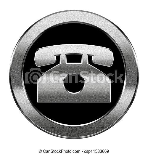 telefoon, vrijstaand, achtergrond., zilver, witte , pictogram - csp11533669