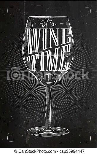 tijd, krijt, poster, wijntje - csp35994447