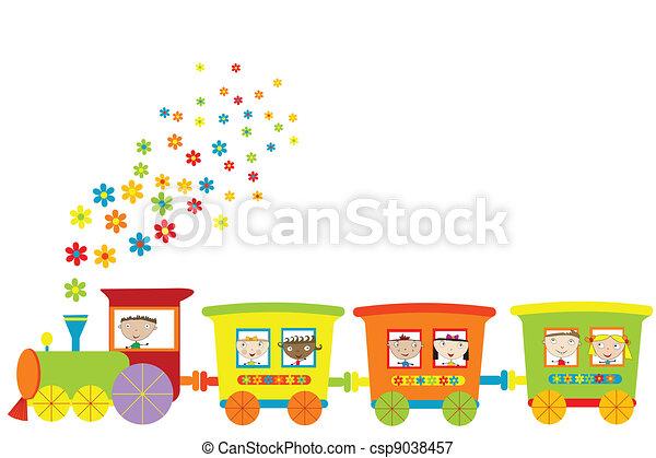 trein, kinderen, vrolijke  - csp9038457