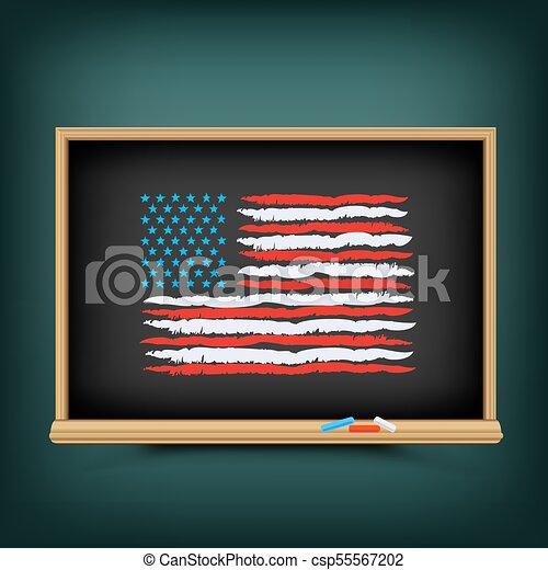 trekken, usa, kleur, bord, school, vlag - csp55567202