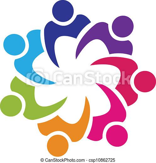 unie, logo, vector, teamwork, mensen - csp10862725