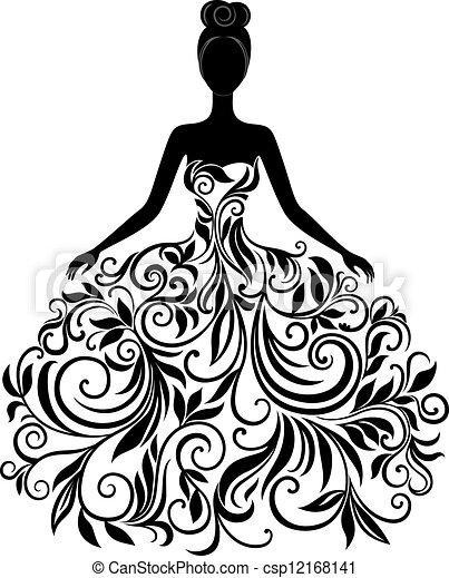 vector, jurkje, vrouw, silhouette, jonge - csp12168141
