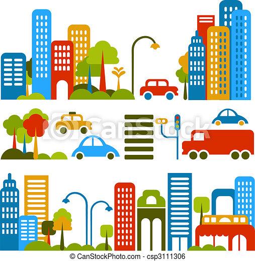 vector, schattig, straat, illustratie, stad - csp3111306