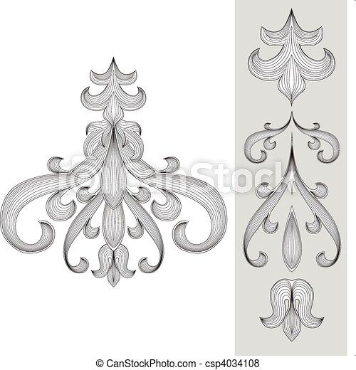 vector, set, ornament - csp4034108