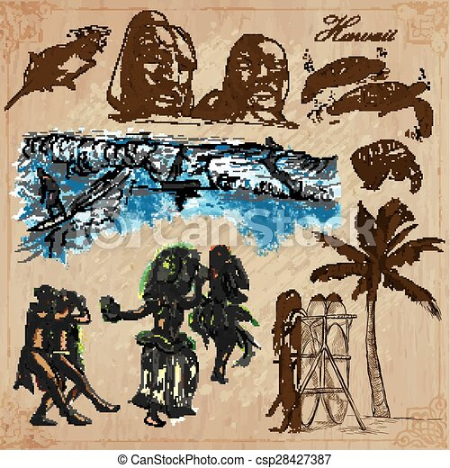 vectors, -, hawaii, travel., getrokken, pack., hand - csp28427387