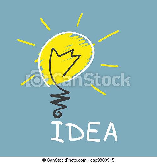 vernieuwend, lamp., concept, idee - csp9809915