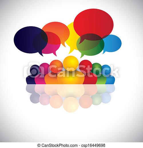 verplichting, werkkring mensen, communicatie, besprekingen, kinderen, personeel, &, media, ook, werknemer, vergadering, geitjes, wisselwerking, conferentie, vertegenwoordigt, grafisch, het spreken., klesten, vector, sociaal, of - csp16449698