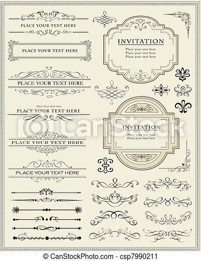 versiering, communie, ontwerp, pagina, calligraphic - csp7990211