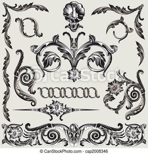 versiering, floral, set, communie, classieke - csp2008346
