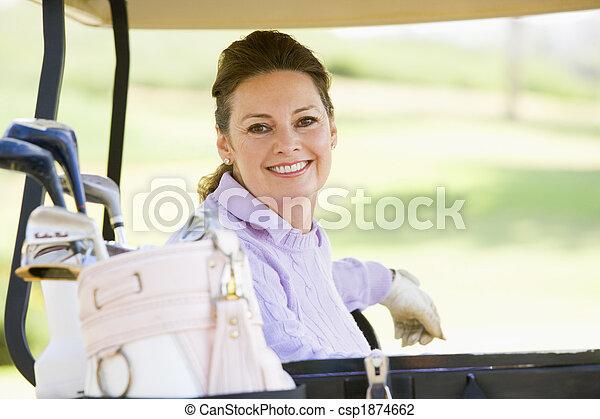 verticaal, vrouw, golf kar, zittende  - csp1874662