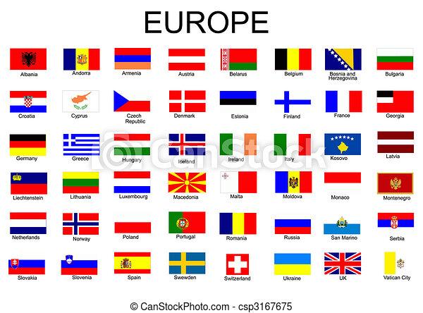 vlaggen, europeaan, lijst, land, alles - csp3167675