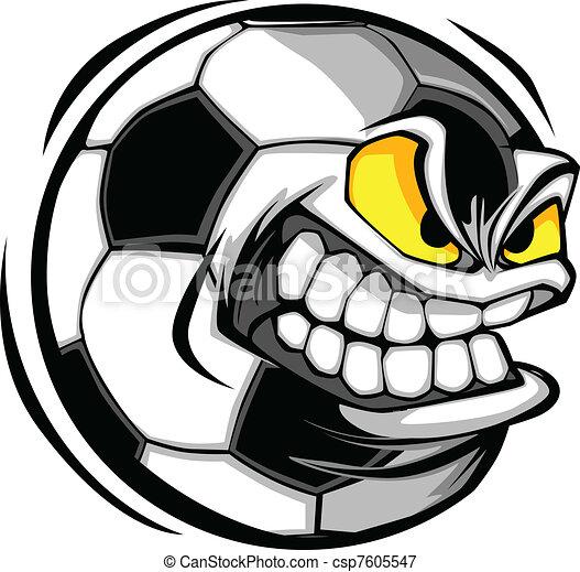 voetbal, vector, spotprent, bal, gezicht - csp7605547
