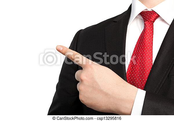 voorwerp, vrijstaand, zakenman, punten, vinger, kostuum, vastknopen, rood - csp13295816