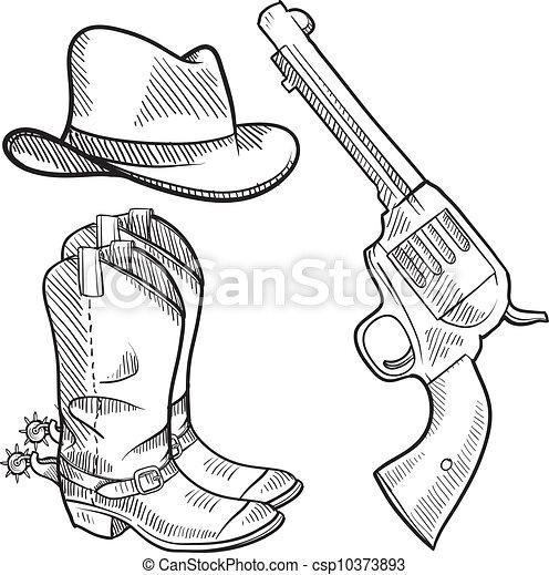 voorwerpen, cowboy, schets - csp10373893