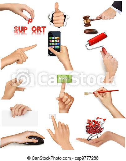 voorwerpen, holdingshanden, set - csp9777288