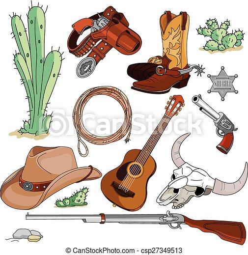 voorwerpen, set, cowboy - csp27349513