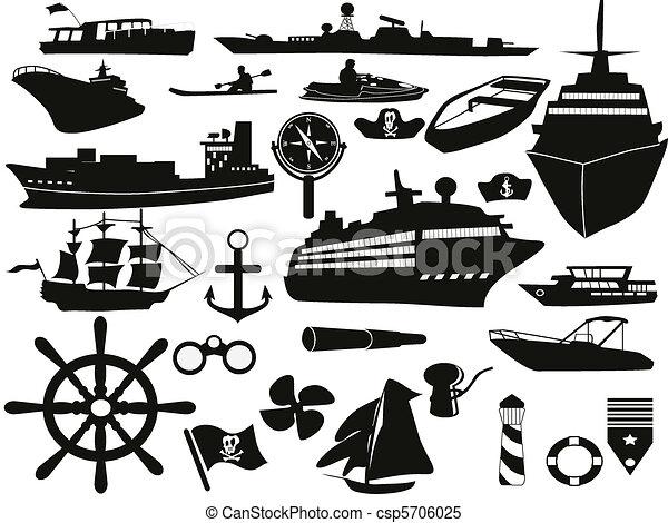 voorwerpen, set, zeilend, pictogram - csp5706025