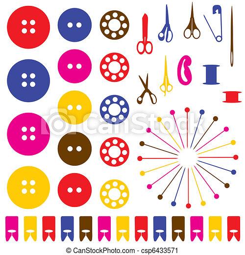 voorwerpen, silhouettes, set., naaiwerk - csp6433571