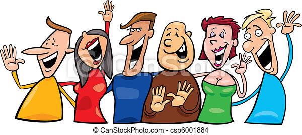 vrolijke , groep, mensen - csp6001884