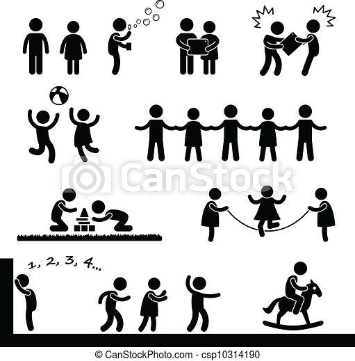 vrolijke , kinderen spelende, pictogram - csp10314190