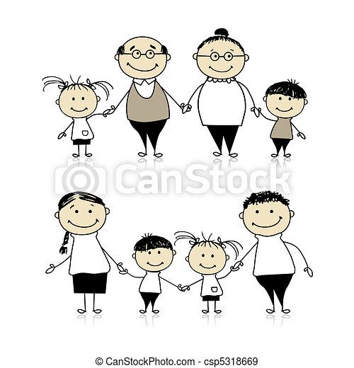 vrolijke , -, ouders, samen, grootouders, gezin, kinderen - csp5318669