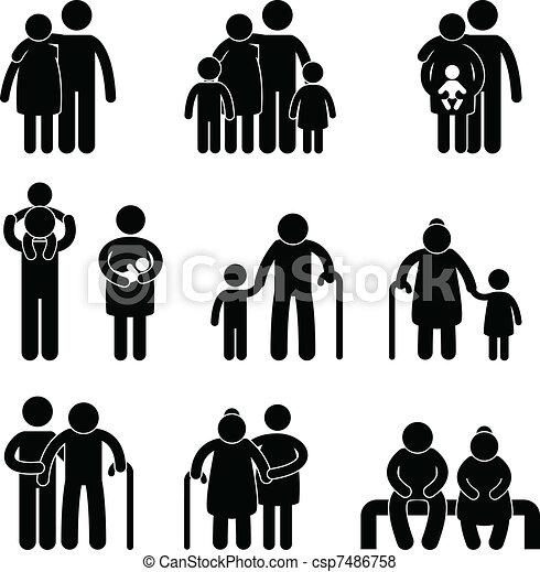 vrolijke , symbool, meldingsbord, gezin, pictogram - csp7486758