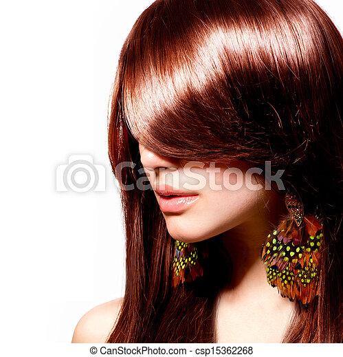 vrouw, beauty, makeup, mode, portrait., model., modieus - csp15362268