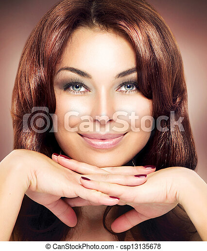 vrouw, beauty, portrait., makeup, mooi - csp13135678