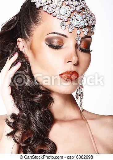 vrouw, edelstenen, dromerig, prachtig, verticaal, het glanzen - csp16062698