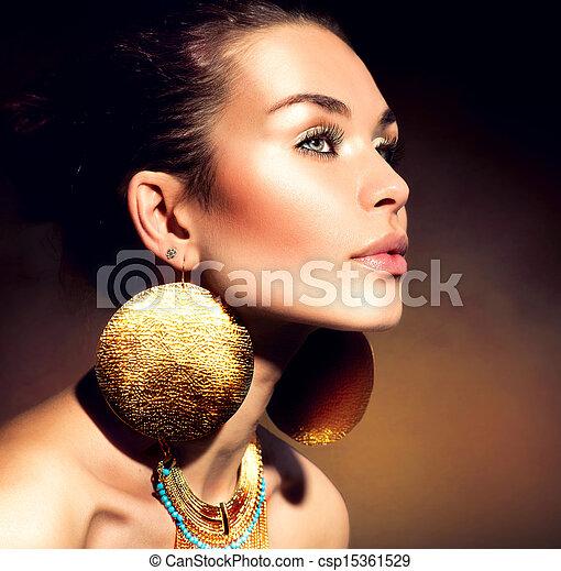 vrouw, jewels., mode, portrait., makeup, gouden, modieus - csp15361529