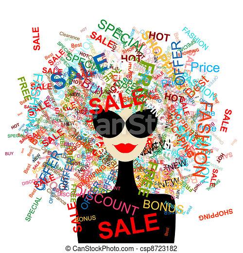 vrouw winkelen, conceptontwikkeling, liefde, mode, jouw, sale! - csp8723182